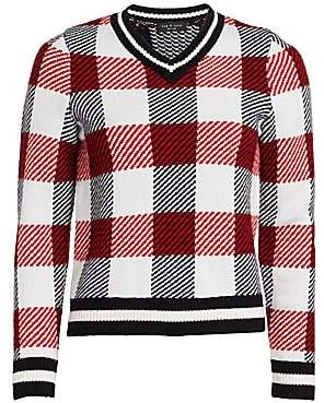 Rag & Bone Women's Gabby Buffalo Check V-Neck Sweater
