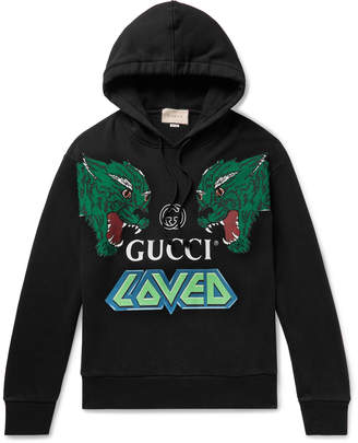 Gucci Oversized Printed Loopback Cotton-Jersey Hoodie - Men - Black