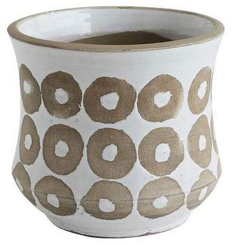 "3R Studios Glazed Terracotta Planter Pot (7.5"") White"