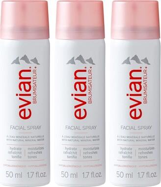 Evian Brumisateur Natural Mineral Water Facial Spray Travel Trio