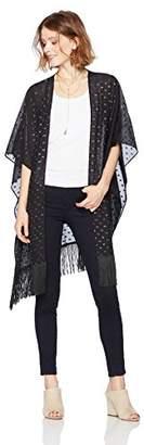 Ella Moon Women's Cassidy Metallic Lurex Clip Dot Sheer Kimono Top