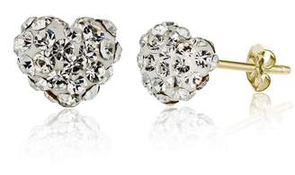 Swarovski Best Silver Inc. 14K Yellow Gold Pave Crystal Accented Heart Stud Earrings