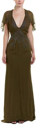 Haute Hippie Shaded Palm Silk Gown