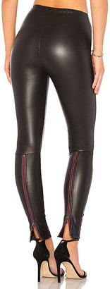 Plush Fleece Lined Liquid Legging With Contrast Zipper