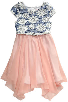 EMILY WEST Emily West Belted Short Sleeve Cap Sleeve Skater Dress - Big Kid Girls