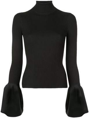 Alexander Wang ribbed trumpet sleeve turtleneck top