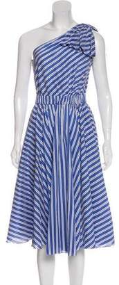 Milly Striped One-Shoulder Dress