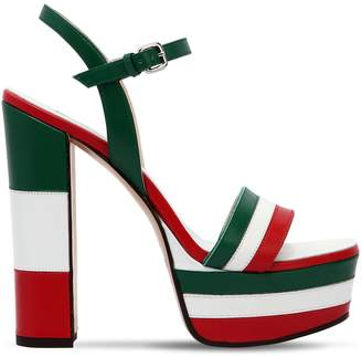 Fiorucci Striped Leather Sandals