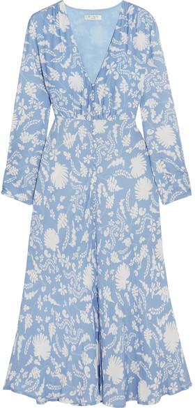 RIXO London - Katie Printed Crepe Midi Dress - Light blue