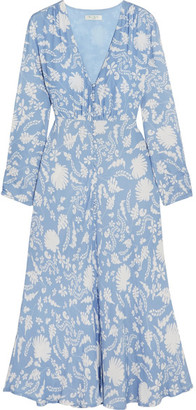 RIXO London - Katie Printed Crepe Midi Dress - Light blue $435 thestylecure.com