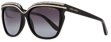 Jimmy Choo Jimmy Choo Sophia Embellished Sunglasses, Black