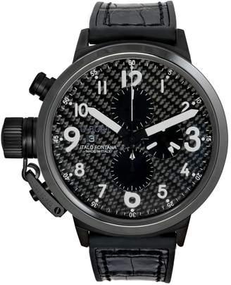 U-Boat 7118 Men's Flightdeck Auto Chron Black Alligator & Rubber Silver-Tone Hand Watch