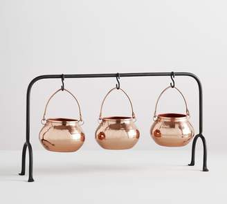 Pottery Barn Copper Cauldron Triple Condiment Serve