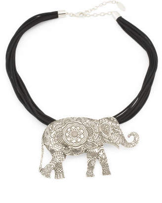 Elephant Necklace On Cord