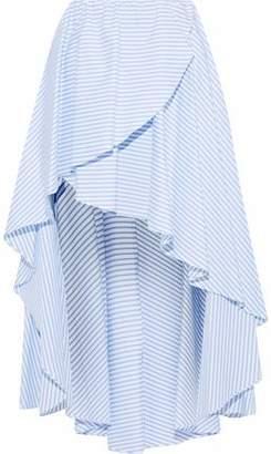 Caroline Constas Adelle Asymmetric Striped Cotton-Poplin Skirt