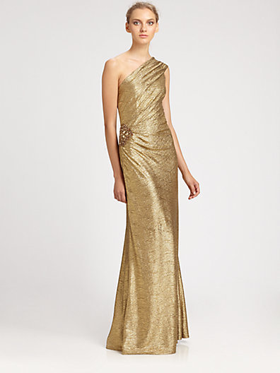 David Meister One-Shoulder Metallic Gown