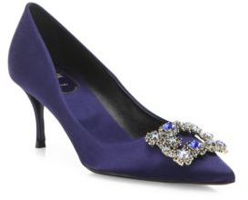 Roger Vivier Dec Flower Crystal-Buckle Satin Point Toe Pumps $1,750 thestylecure.com