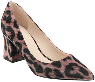 Marc Fisher Leo Chunky-Heel Leopard Pumps