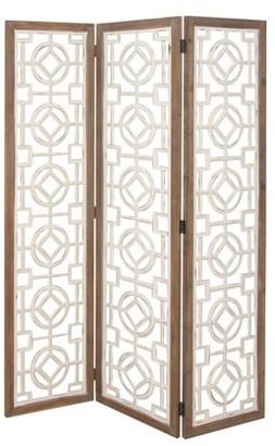 DecMode Decmode Farmhouse 72 x 54 inch white three-panel wooden room screen, White