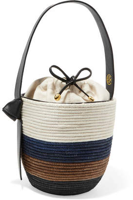 BEIGE Cesta Collective - Lunchpail Leather-trimmed Woven Sisal Bucket Bag - White