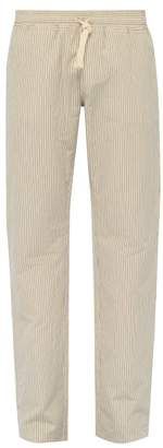 BEIGE The Gigi - Waikiki Pinstripe Cotton Blend Trousers - Mens