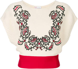 RED Valentino floral cropped jumper