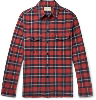 Gucci Oversized Embroidered Checked Cotton-Flannel Shirt - Red