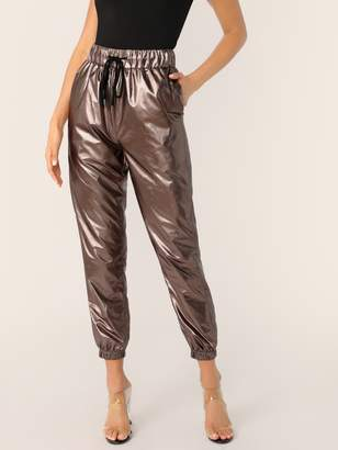 Shein Drawstring Waist Leather Look Peg Pants
