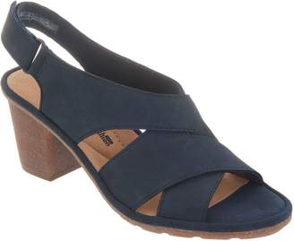 Clarks Nubuck Leather Adjustable Heeled Sandals - Sashlin Nolte