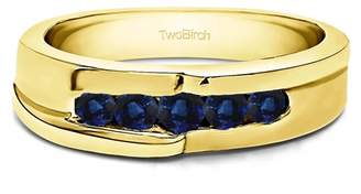 TwoBirch Sapphire Mounted in Sterling Silver Sapphire Engraved Design Cool Mens Wedding Ring (0.49crt)