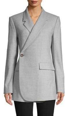Theory Overlap-Front Virgin Wool Blazer