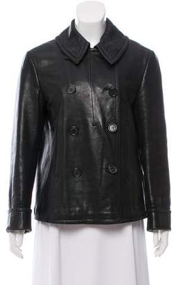 Calvin Klein Collection Short Leather Peacoat