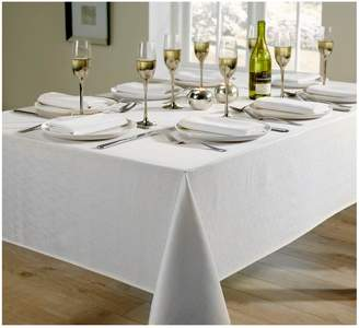 Very Linen Look 8 Place Setting Tablecloth and Napkin Set – White