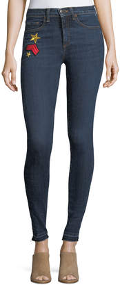 """Veronica Beard Kate 10"""" Mid-Rise Skinny Jeans w/ Patches"""