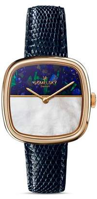 Gomelsky The Eppie Two-Tone Dial Blue Strap Watch, 32mm x 32mm