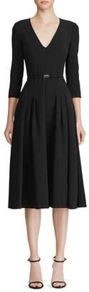 Ralph Lauren Raeana 3/4-Sleeve Belted Crepe Dress