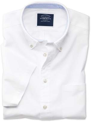 Charles Tyrwhitt Slim Fit Button-Down Washed Oxford Short Sleeve White Cotton Casual Shirt Single Cuff Size Medium