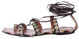 Valentino Embellished Lace-Up Sandals