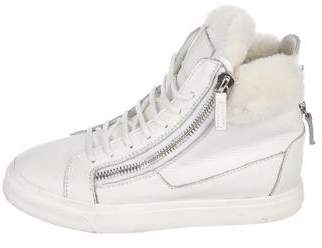 Giuseppe Zanotti Fur-Trimmed Leather Sneakers