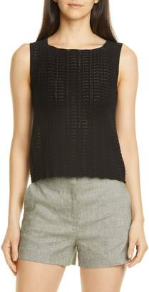 Theory Crochet Sleeveless Cotton Blend Sweater