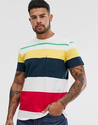 Levi's logo tab sunset pocket stripe t-shirt in multi