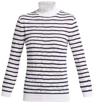 Chloé Pointelle Knit Cotton Blend Sweater - Womens - Blue Stripe