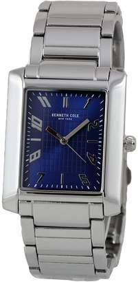 Kenneth Cole New York Men's Blue Analog Rectangular Watch Steel Bracelet 10031345