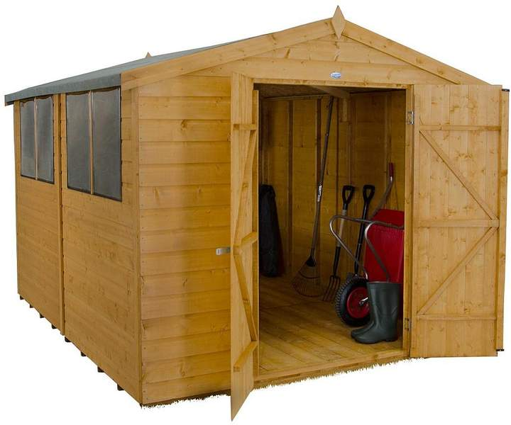 FOREST 10x8ft Shiplap Apex Dip Treated Double Door Shed