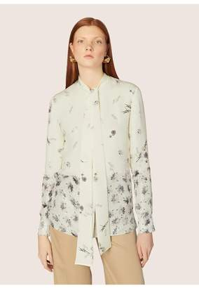 Derek Lam Long Sleeve Mixed Print Blouse With Neck Ties