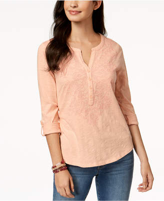 Style&Co. Style & Co Embroidered Top, Created for Macy's