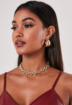 Missguided Gold Look Chunky Chain Link Choker