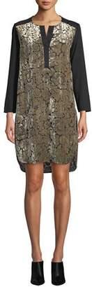 Finley Long-Sleeve Floral Velvet Brocade Dress