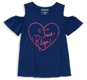 True Religion Little Girl's Heart Graphic Cold Shoulder Tee