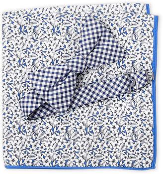 Tommy Hilfiger Gingham Bow Tie & Tropical Pocket Square Set